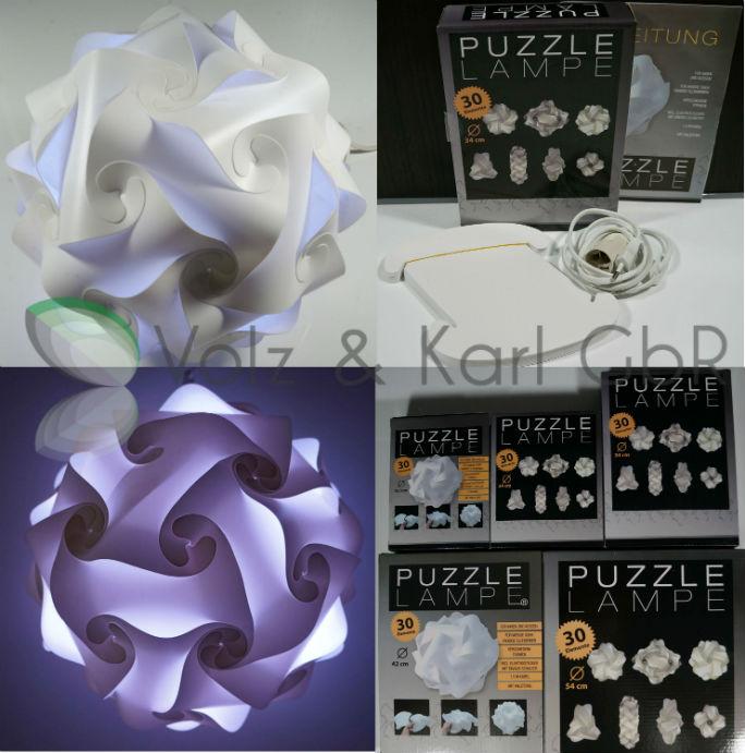 puzzle lampe s m l xl xxl 18 5 24 34 42 54cm h ngelampe zusammengebaut diy ebay. Black Bedroom Furniture Sets. Home Design Ideas